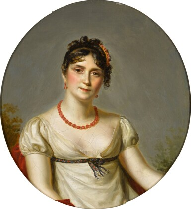View 1. Thumbnail of Lot 65. Portrait of the Empress Josephine of France (1763-1814), bust-length, wearing a white muslin dress.