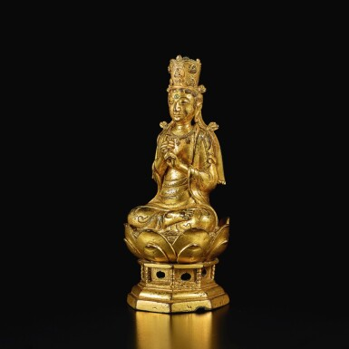 View 2. Thumbnail of Lot 596. A GILT-BRONZE FIGURE OF VAIROCANA,  LIAO DYNASTY.