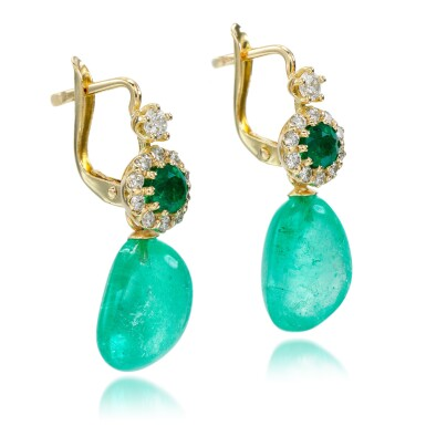 View 2. Thumbnail of Lot 19. Pair of emerald and diamond earrings.