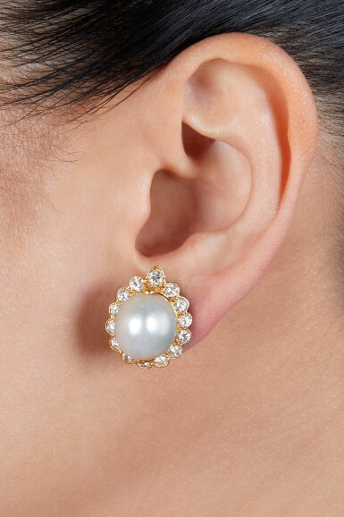 View 2. Thumbnail of Lot 69. Van Cleef & Arpels   Pair of Natural Pearl and Diamond Earclips.