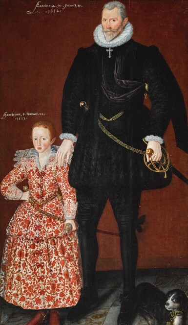 CIRCLE OF ROBERT PEAKE | Portrait of Sir Edward Pytts of Kyre Wyard and Sheriff of Worcestershire and his grandson, Edward Pytts, both full-length, the former in a black doublet and hose with a dog at his feet, the latter in a richly embroidered red and white dress, holding a sword
