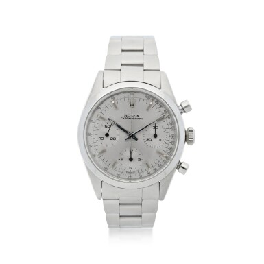 View 1. Thumbnail of Lot 2. ROLEX | REFERENCE 6238 'PRE-DAYTONA'  A STAINLESS STEEL CHRONOGRAPH WRISTWATCH WITH BRACELET, CIRCA 1964.