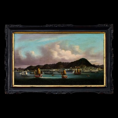 View 1. Thumbnail of Lot 188. Youqua (fl. 1840-1880), circa 1850 View of Hong Kong from the Victoria Harbour | 煜呱(活躍於1840-1880年) 約1850年    香港維多利亞海港圖 布本油畫 木框.