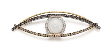 View 1. Thumbnail of Lot 1418. YOUNG BY DILYS' | 'CELESTIAL EYE', PEARL AND DIAMOND PENDANT / BROOCH | Young by Dilys' | 'Celestial Eye' 珍珠 配 鑽石 吊墜 / 別針.