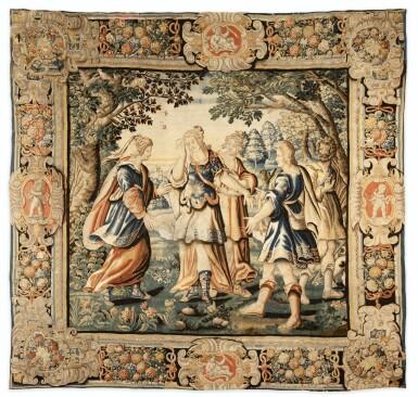 View 1. Thumbnail of Lot 107. A MYTHOLOGICAL TAPESTRY, EARLY 17TH CENTURY, PARISIAN WORKSHOP OF CHARLES DE COMANS AND FRANS VAN DEN PLANKEN   TAPISSERIE À SUJET MYTHOLOGIQUE, PREMIER QUART DU XVIIE SIÈCLE, ATELIER PARISIEN DE CHARLES DE COMANS ET FRANS VAN DEN PLANKEN.