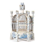 A CONTINENTAL TIN-GLAZED EARTHENWARE BLUE AND WHITE BIRDCAGE, LATE 19TH/EARLY 20TH CENTURY