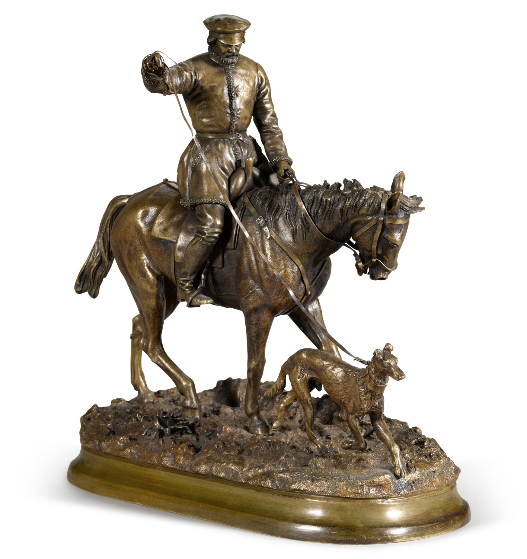 View full screen - View 1 of Lot 291. Peasant on Horseback: a bronze figure, after the model by Evgeny Lansere (1848-1886), 1881.