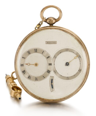 View 1. Thumbnail of Lot 31. BREGUET  [ 寶璣] | A FINE, SMALL AND SLIM GOLD AND SILVER RUBY CYLINDER WATCH WITH SUBSIDIARY HOUR AND MINUTE DIALS, WITH SHORT GOLD CHAIN AND RATCHET KEY  NO. 4287 4011, 'PETITE MONTRE SIMPLE TRÈS PLATE' SOLD TO LE COMTE KAROLY ON 22 FEBRUARY 1825 FOR 2,000 FRANCS  [ 小型黃金及銀製懷錶備紅寶石工字輪擒縱機芯、小時及分鐘小錶盤,配黃金短錶鏈及棘輪鑰匙,編號4287 4011,1825年2月22日以2,000法郎售予卡羅伊伯爵].
