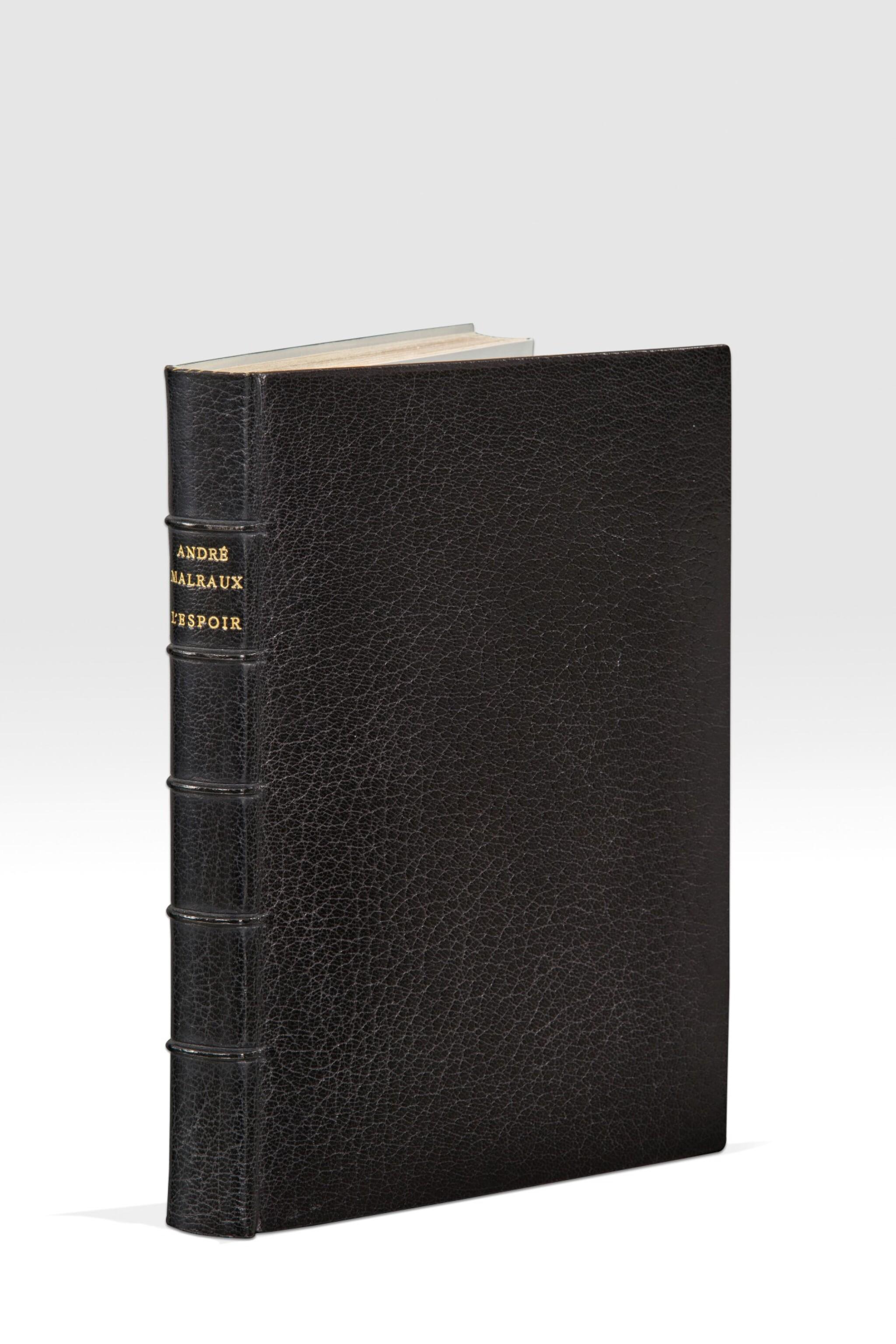 View 1 of Lot 242. MALRAUX. L'Espoir. 1937. Éd.or 1/6 premiers exemplaires sur Chine. Parfaitement relié par Pierre-Lucien Martin..