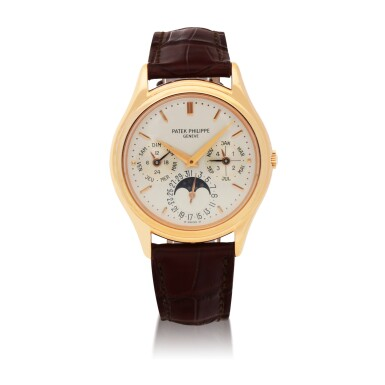 REF 3940 PINK GOLD PERPETUAL CALENDAR WRISTWATCH WITH MOON PHASES, 24-HOUR AND LEAP-YEAR INDICATION MADE IN 1990 [百達翡麗3940型號粉紅金萬年曆腕錶備月相、24小時及閏年顯示,1990年製]