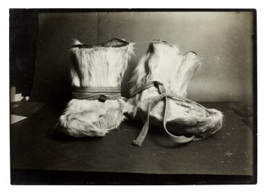 View 2. Thumbnail of Lot 189. Herbert Ponting   Three original photographs of ski shoes, published in 'Scott's Last Expedition', 1913.