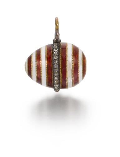 View 1. Thumbnail of Lot 8. A Fabergé jewelled gold and guilloché enamel egg pendant, workmaster Henrik Wigström, St Petersburg, circa 1910.