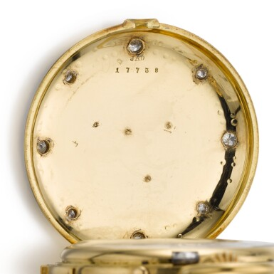 View 6. Thumbnail of Lot 26. SWISS  [ 瑞士製]    A GOLD AND ENAMEL HUNTING CASED MINUTE REPEATING KEYLESS LEVER WATCH WITH AMERICAN EAGLE AND CRESCENT STAR MOTIFS  CIRCA 1865, NO. 17738  [ 黃金畫琺瑯三問懷錶飾美國鷹及星月主題圖案,年份約1865,編號17738].