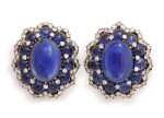 BULGARI | PAIR OF SAPPHIRE AND DIAMOND EARCLIPS