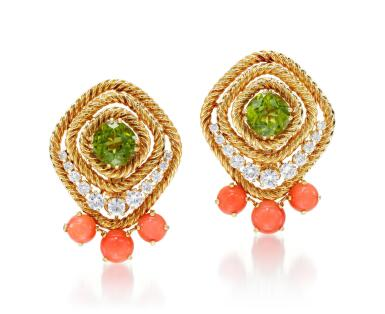 PAIR OF PERIDOT, CORAL AND DIAMOND EAR CLIPS | CHAUMET, 1960S