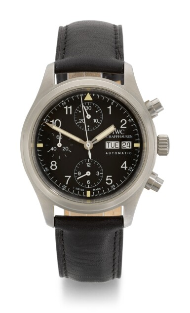 View 1. Thumbnail of Lot 19. IWC | FLIEGERCHRONOGRAPH, REFERENCE 3706, STAINLESS STEEL CHRONOGRAPH WRISTWATCH WITH DAY AND DATE, CIRCA 2000.