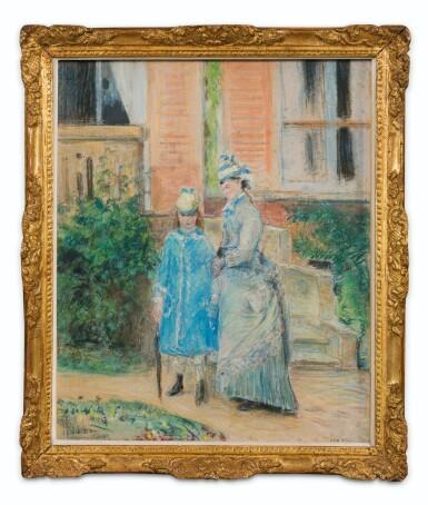 View 2. Thumbnail of Lot 5. Deux jeunes filles dans un jardin, devant un perron.
