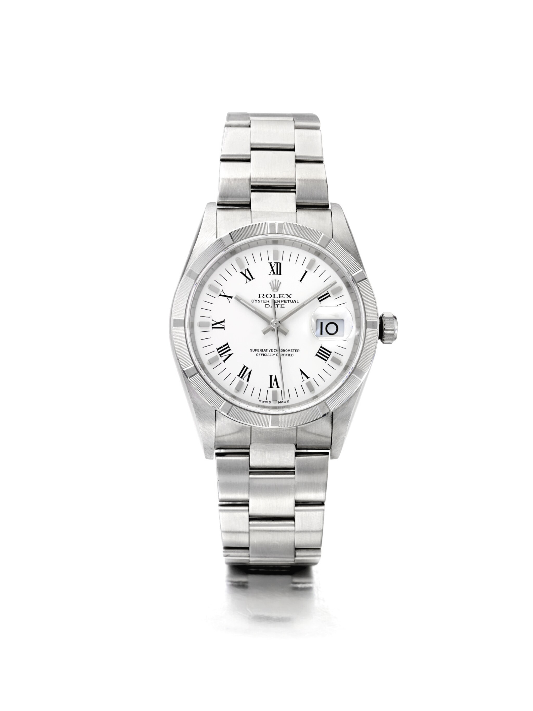 View 1 of Lot 7. ROLEX | DATE REF 15210, A STAINLESS STEEL AUTOMATIC WRISTWATCH WITH DATE AND BRACELET CIRCA 1998.