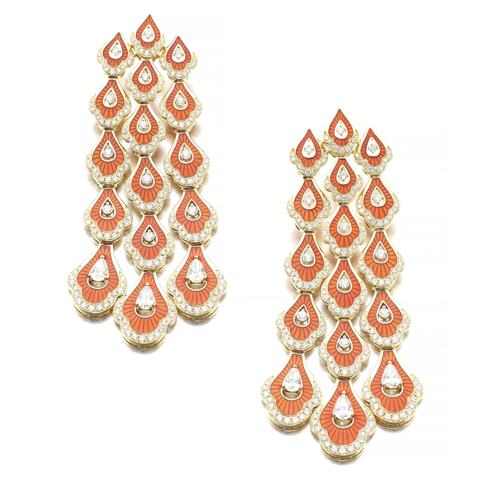 View full screen - View 1 of Lot 1067. Pair of enamel and diamond earrings.
