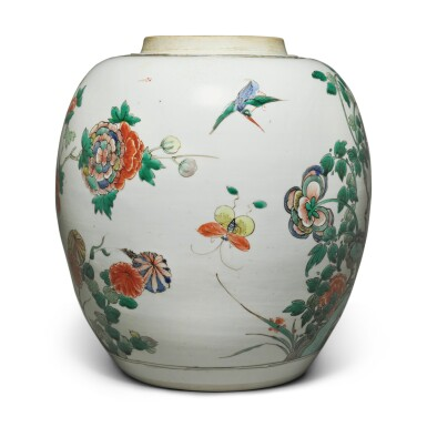 View 4. Thumbnail of Lot 4. A famille-verte 'bird and flower' jar, Qing dynasty, Kangxi period.
