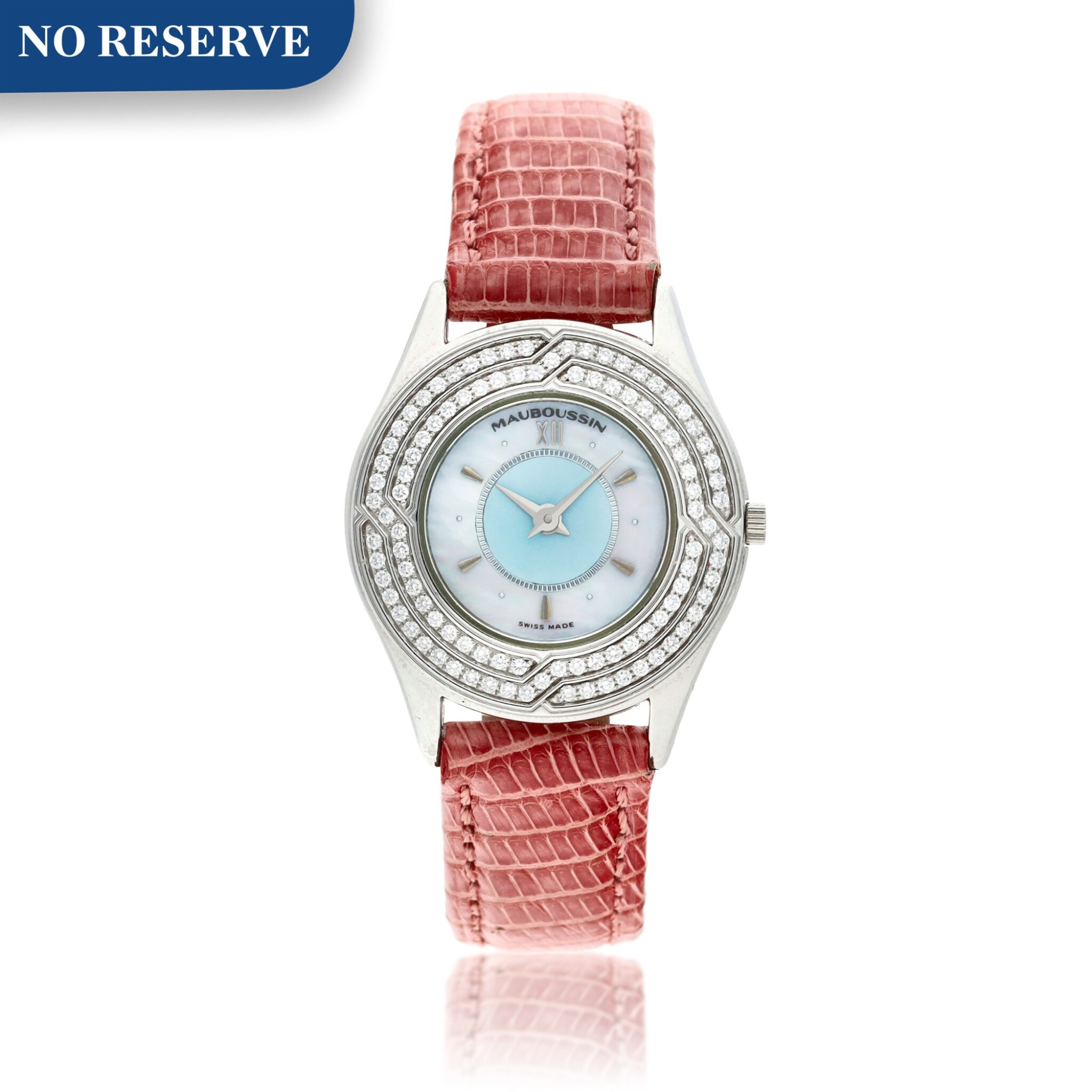 View full screen - View 1 of Lot 156. A white gold and diamond-set wristwatch with mother-of-pearl dial, Circa 2000.