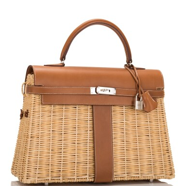 View 2. Thumbnail of Lot 14. Hermès Wicker and Barenia Leather Picnic Bag Kelly 35cm Palladium Hardware.