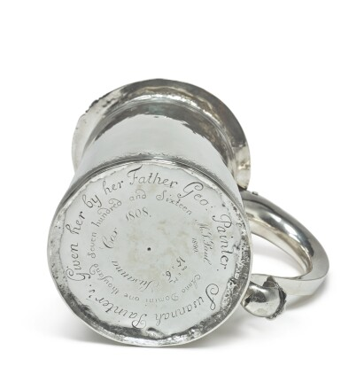 View 2. Thumbnail of Lot 401. An American Silver Small Tankard, Johannis Nys, Philadelphia, dated 1716.