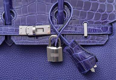 View 7. Thumbnail of Lot 341. Bleu Encre Touch Birkin 25cm in Togo Leather and Shiny Niloticus Crocodile with Palladium Hardware, 2018.