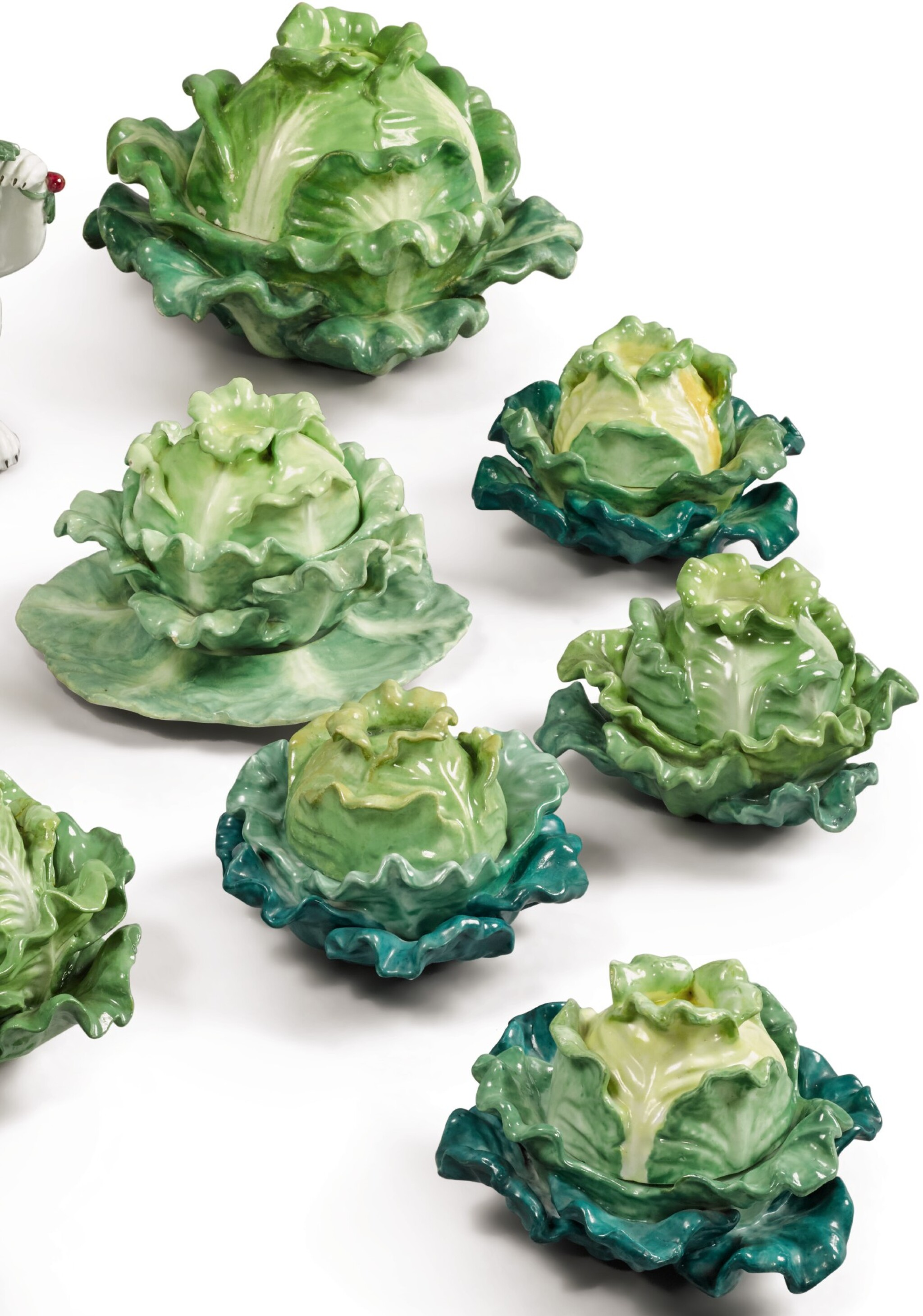 View full screen - View 1 of Lot 157. FOUR PAIRS (JACOB PETIT FACTORY) CABBAGE-FORM PORCELAIN BOXES AND COVERS, CIRCA 1830-1850.