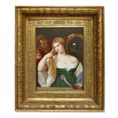 A FRAMED SEVRES PORCELAIN PLAQUE, 'WOMAN WITH A MIRROR' CIRCA 1820