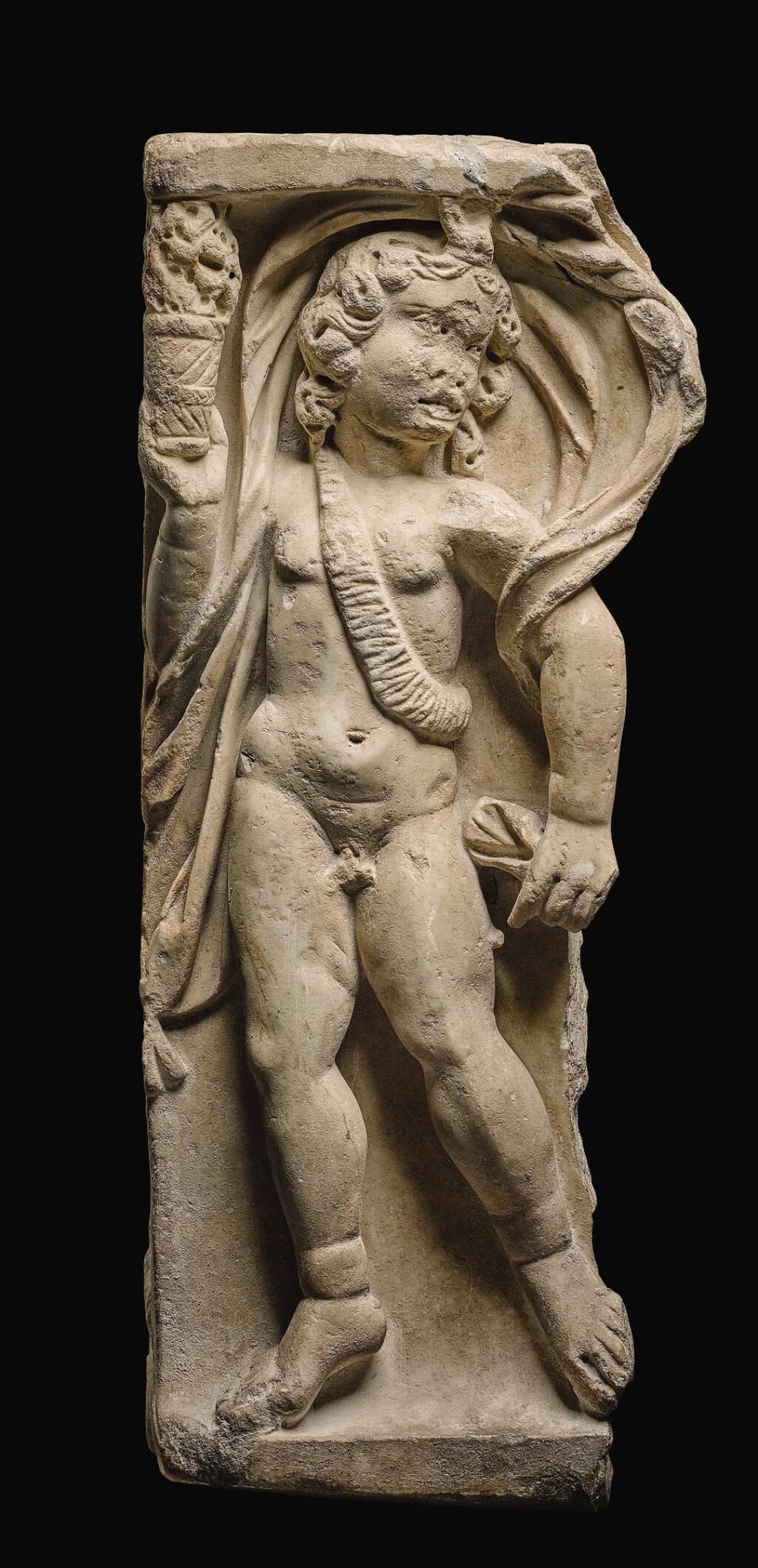 A ROMAN MARBLE SEASON SARCOPHAGUS RELIEF FRAGMENT, 3RD CENTURY A.D.