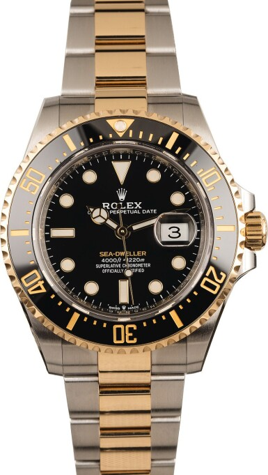 View 2. Thumbnail of Lot 5. ROLEX | Sea-Dweller, Ref. 126603, A Stainless Steel and Yellow Gold Wristwatch with Bracelet, Circa 2019.