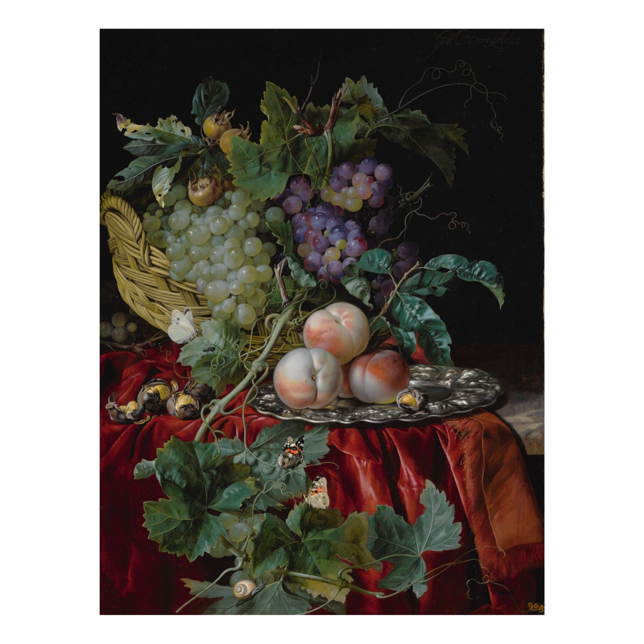 View full screen - View 1 of Lot 36. Still life with grapes in a basket, peaches on a silver dish, medlars, two butterflies, a fly and a snail, all on a red velvet cloth over a partially draped ledge.