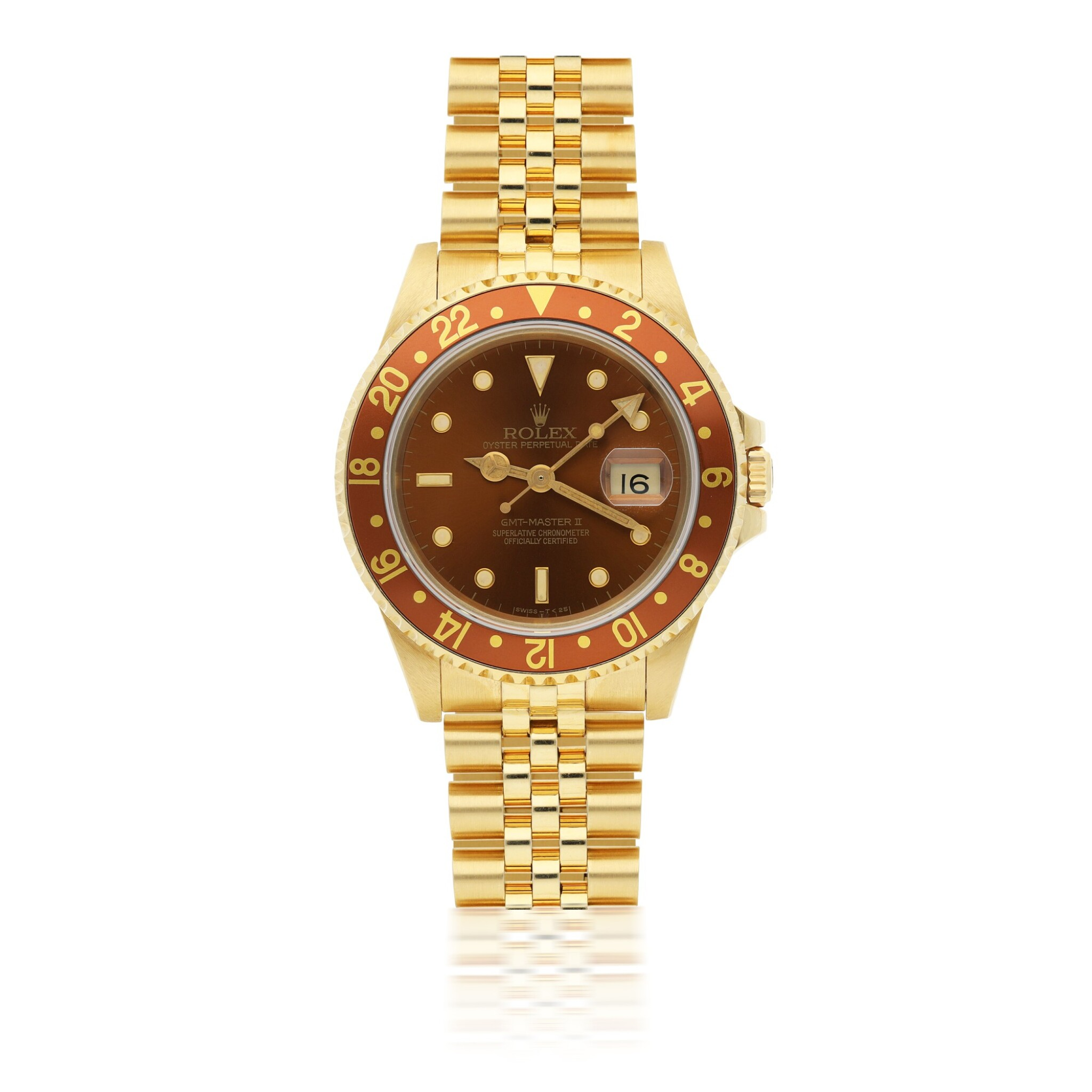 View full screen - View 1 of Lot 161. ROLEX   GMT-MASTER II REF 16718, A YELLOW GOLD AUTOMATIC DUAL TIME WRISTWATCH WITH DATE AND BRACELET CIRCA 1990.
