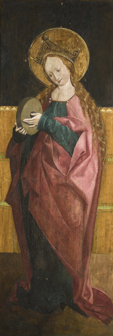 UPPER SWABIAN SCHOOL, CIRCA 1480–90 | Two double-sided altarpiece wings depicting Saints Agnes, Barbara, Christina andMargaret