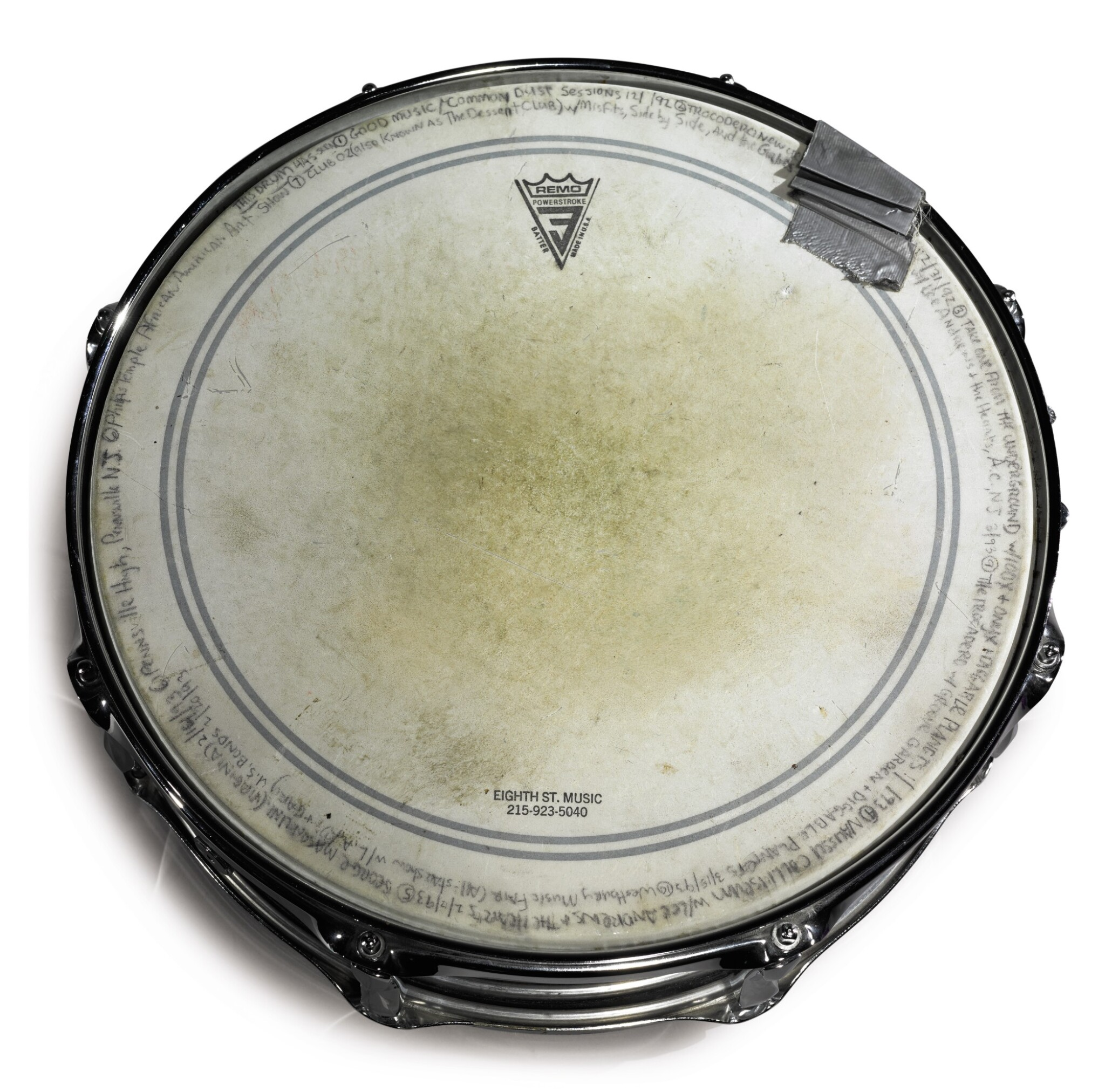 """View full screen - View 1 of Lot 85. [QUESTLOVE] YAMAHA TOUR-INSCRIBED SNARE DRUM AS USED LIVE AND IN STUDIO BY AHMIR """"QUESTLOVE"""" THOMPSON."""