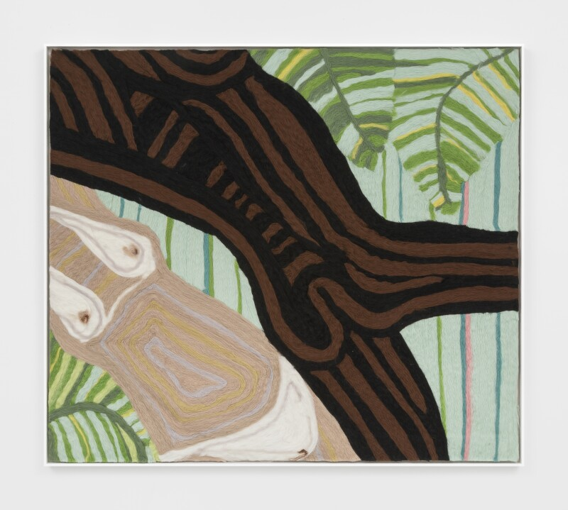 Woman and Man Reclining on Striped Mat IV