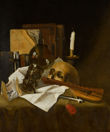View 1. Thumbnail of Lot 28. ATTRIBUTED TO JACQUES DE CLAEUW | Vanitas still life with a broken glass roemer, recorder, skull, extinguished candle, documents and books.