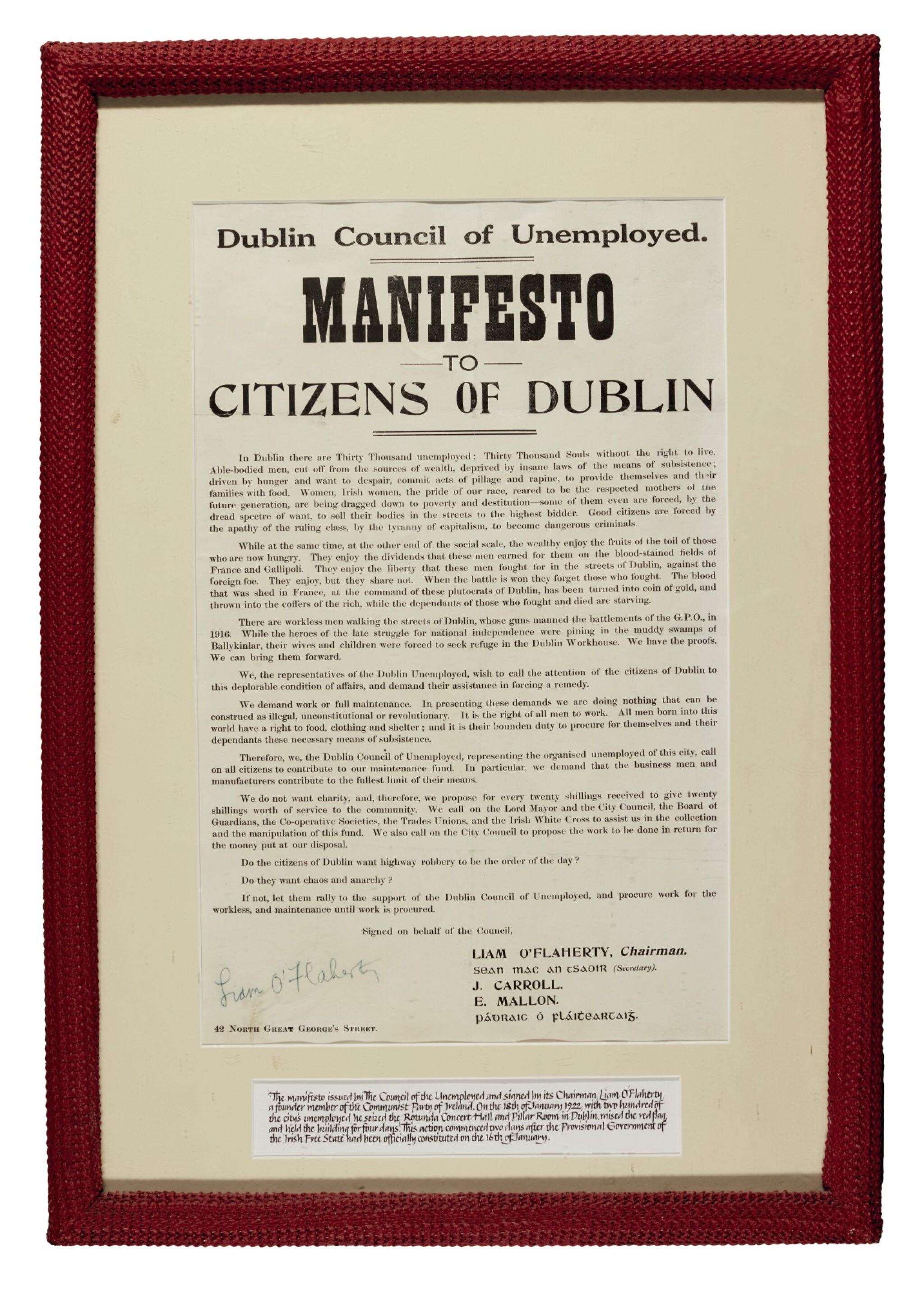 View full screen - View 1 of Lot 62. [O'FLAHERTY] | Manifesto to Citizens of Dublin, [1922].