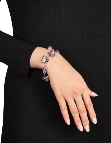 View 2. Thumbnail of Lot 1654. Sotheby's Diamonds by Joseph Ramsay   'Padlock' Diamond, Chalcedony and Purple Sapphire Bracelet   「蘇富比鑽石」Joseph Ramsay設計  「同心扣」鑽石 配 玉髓 及 紫色剛玉 手鏈 (  八顆鑽石共重10.13克拉 ).