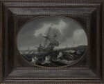 FOLLOWER OF BONAVENTURA PEETERS THE ELDER | A merchantman and other sailing vessels in a storm near a coast