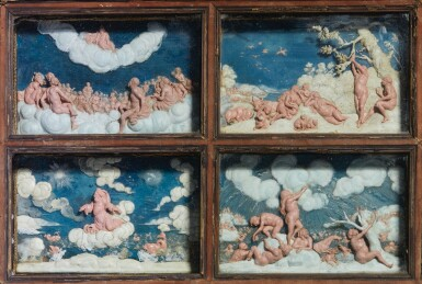 View 4. Thumbnail of Lot 802. pair of framed sets of reliefs with Ovid's Metamorphoses.