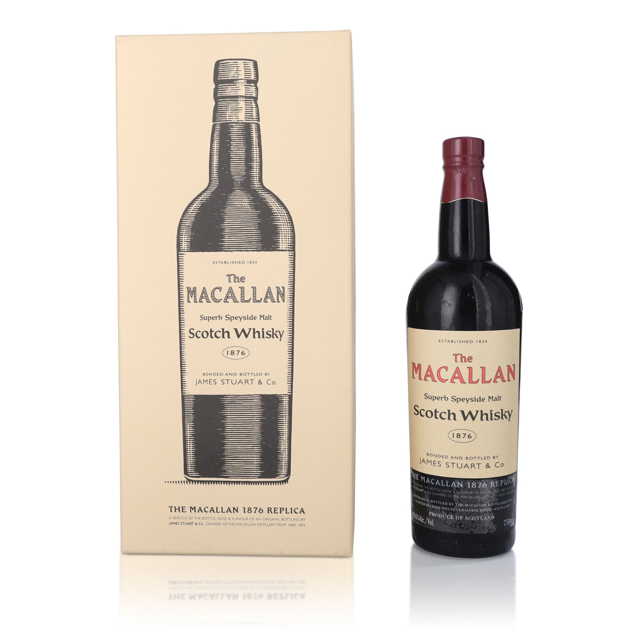 View full screen - View 1 of Lot 36. The Macallan 1876 Replica 40.6 abv NV (1 BT75).