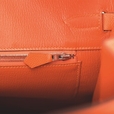 View 9. Thumbnail of Lot 65. Hermès Feu Birkin 35cm of Epsom Leather with Palladium Hardware .