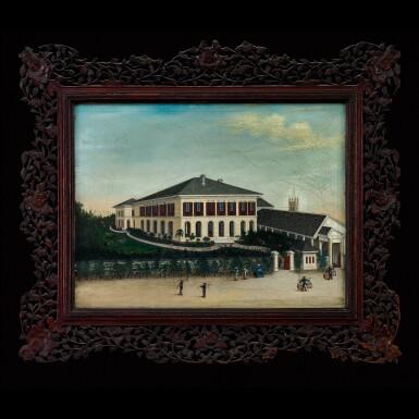 View 1. Thumbnail of Lot 180. Chowkwa (fl. 1850-1880) or His Studio, circa 1860-1865 Foreign Establishment on the Bund at Shanghai | 周呱(活躍於1850-1880年)或其工作室 約1860-1865年  上海外灘外國商館圖 布本油畫 鏡框.