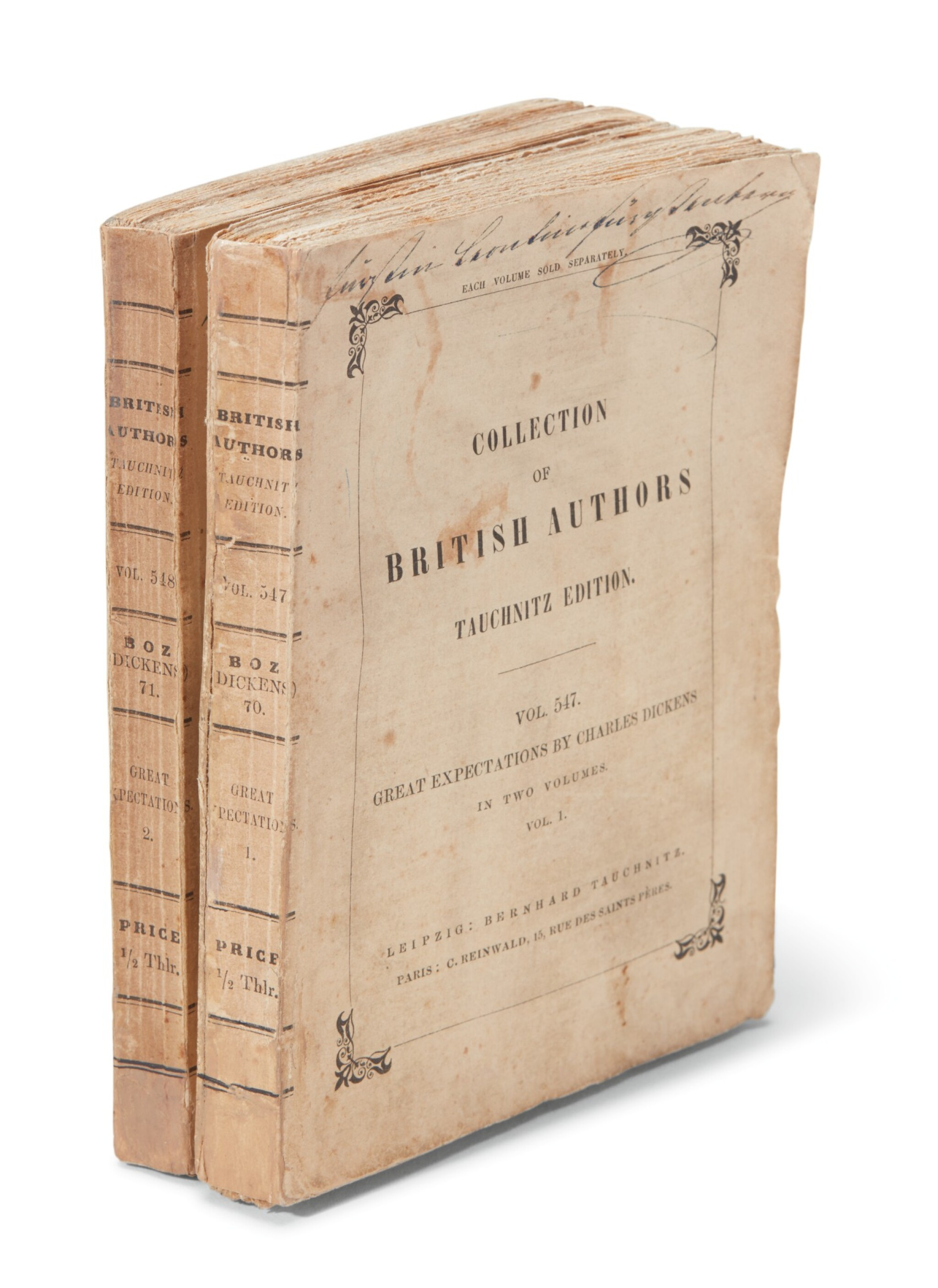 View full screen - View 1 of Lot 187. Dickens, Great Expectations, 1861, Tauchnitz edition .
