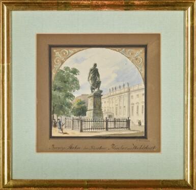 View 2. Thumbnail of Lot 46. Bronzestatue des Fürsten Blücher von Wallstadt (Statue of Prince Blücher).