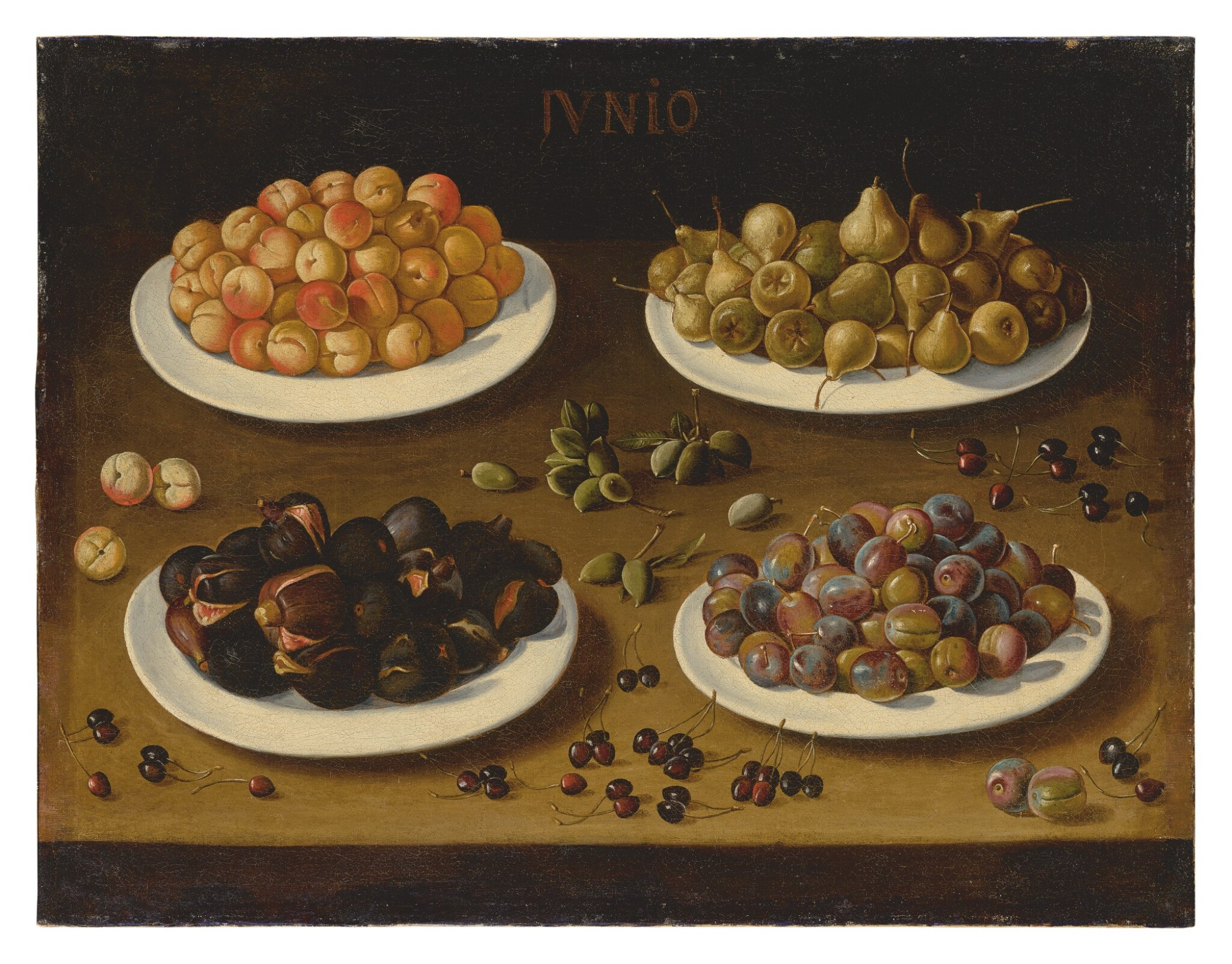 View full screen - View 1 of Lot 563. SPANISH SCHOOL, 17TH CENTURY | AN ALLEGORICAL STILL LIFE OF JUNE, WITH PLATES OF APRICOTS, PEARS, FIGS, AND PLUMS, AND ALMONDS AND CHERRIES SCATTERED ON THE TABLE.