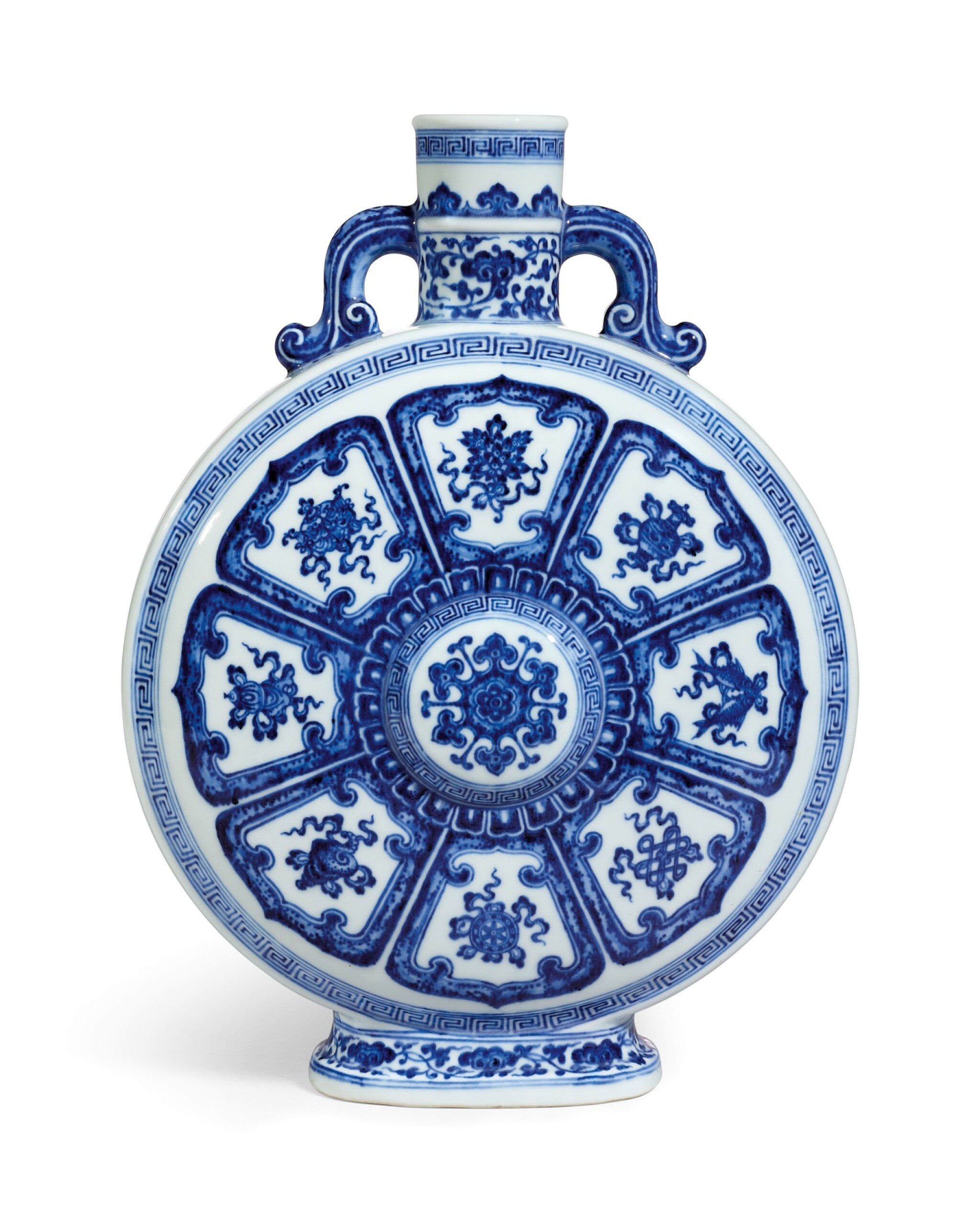 View full screen - View 1 of Lot 3610. A fine and rare blue and white Ming-style moonflask Seal mark and period of Qianlong | 清乾隆 青花八吉祥紋雙耳扁壺 《大清乾隆年製》款.