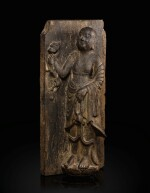 A rare limestone carving of a Buddhist acolyte, possibly Jianglong Luohan Northern Song dynasty, 10th-11th century   北宋十至十一世紀 石灰石浮雕或為降龍羅漢像